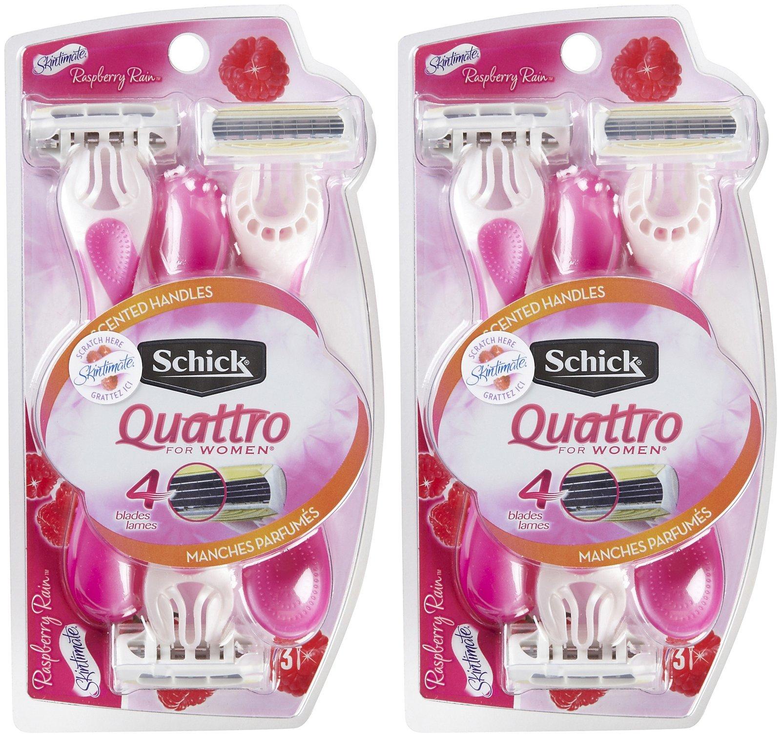 Schick Quattro Quattro for Women Disposable Razor with Scented Handles, Raspberry Rain - 3 ct - 2 pk