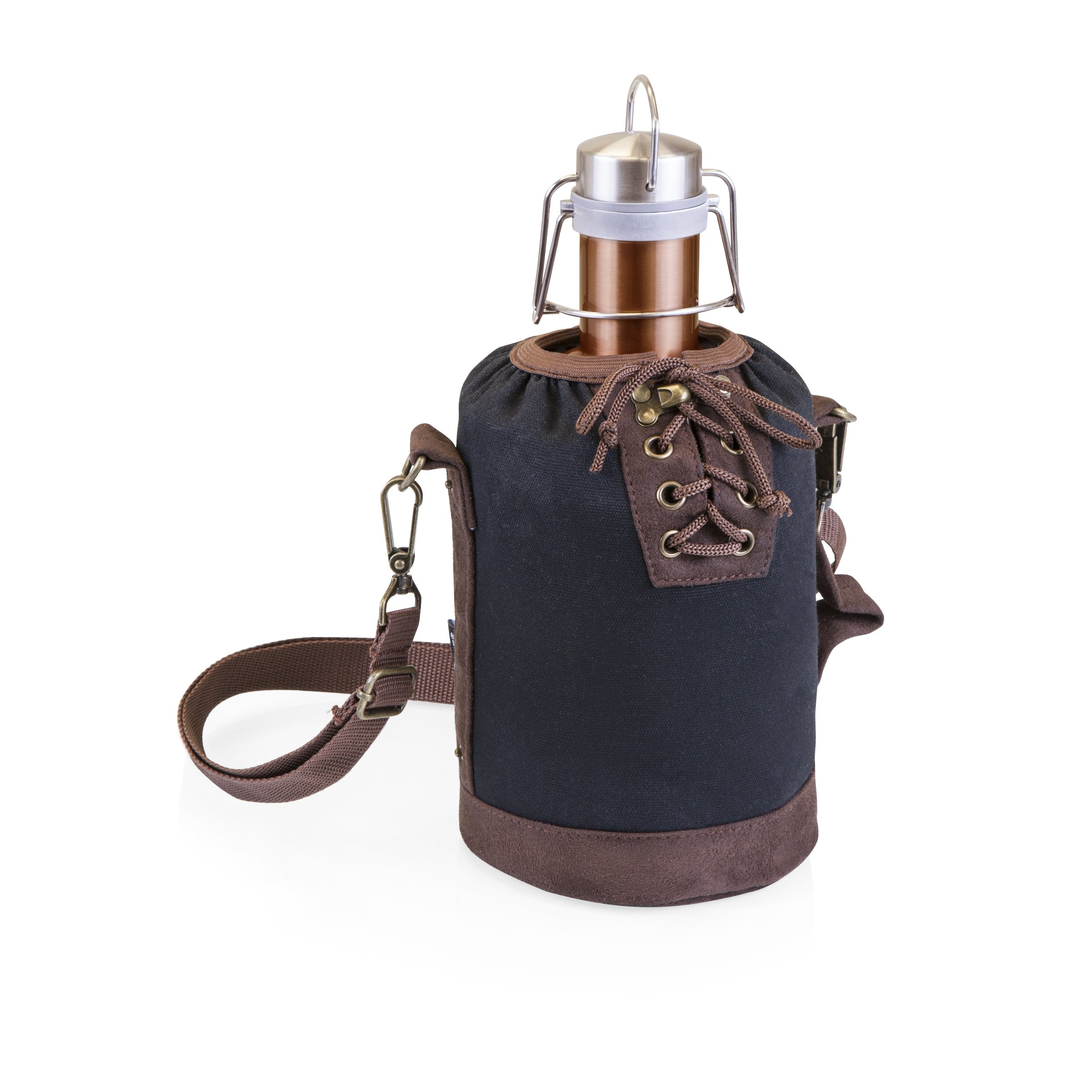 LEGACY - a Picnic Time Brand Stainless Steel Growler with Copper Finish and Black Canvas Lace up Growler Tote, 64-Ounce