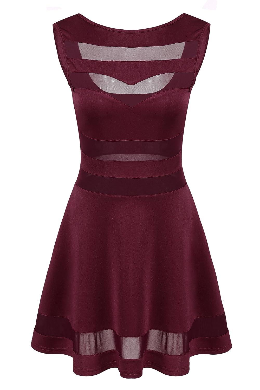 Zeagoo Damen Sexy Hohe Taille Rückenfrei Partykleid Sommerkleid A-Linie Kleid
