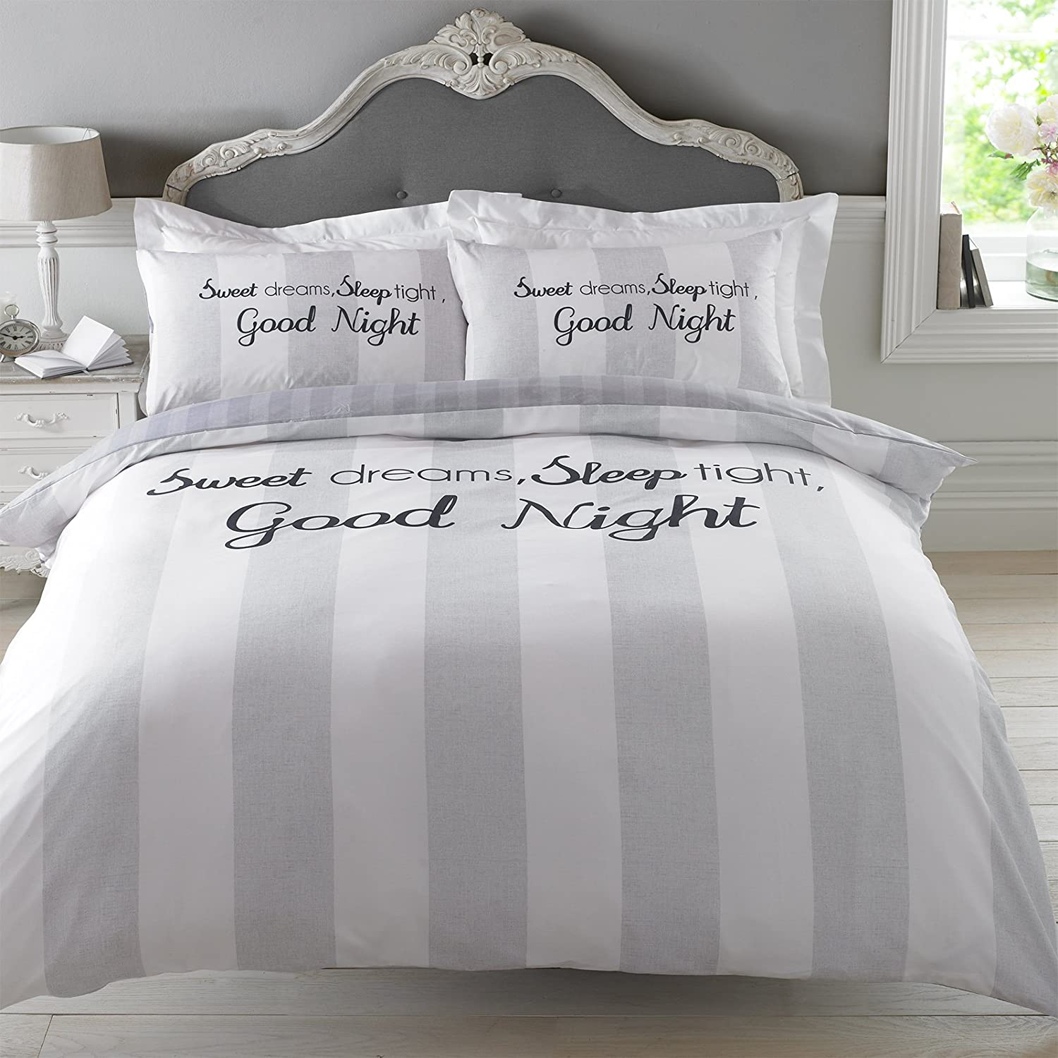 set home pillowcase dreamscene amazon dp gray kitchen dreams bedding sweet bed grey double with uk co cover duvet