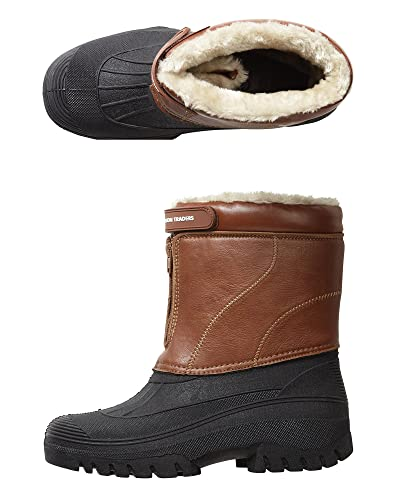 Cotton Traders Highland Waterproof Boots Unisex Front Zip Velcro Strap E Fit  Tan 11 UK