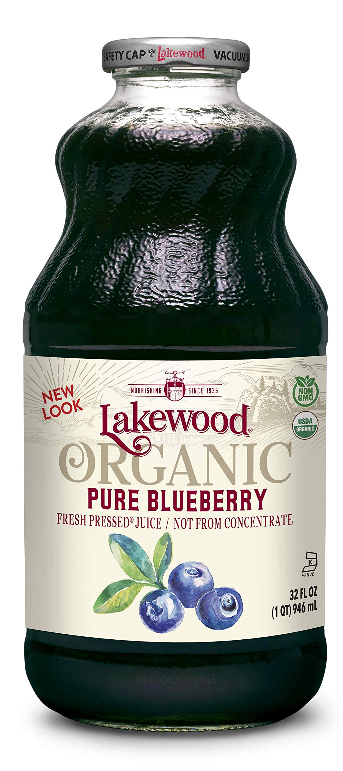 Lakewood Organic PURE Blueberry Juice, 32-Ounce Bottles (Pack of 6) by Lakewood