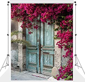 ATAO Vinyl Material 5x7ft Scenic Wood Door Backdrops for Photography Spring Out Flowers Backgrounds Italy Style Portrait Photo Video Props