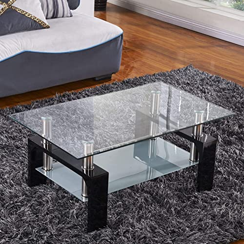 Mecor Rectangle Glass Modern Coffee Table with Shelf Wood Legs Suit for Living Room Black