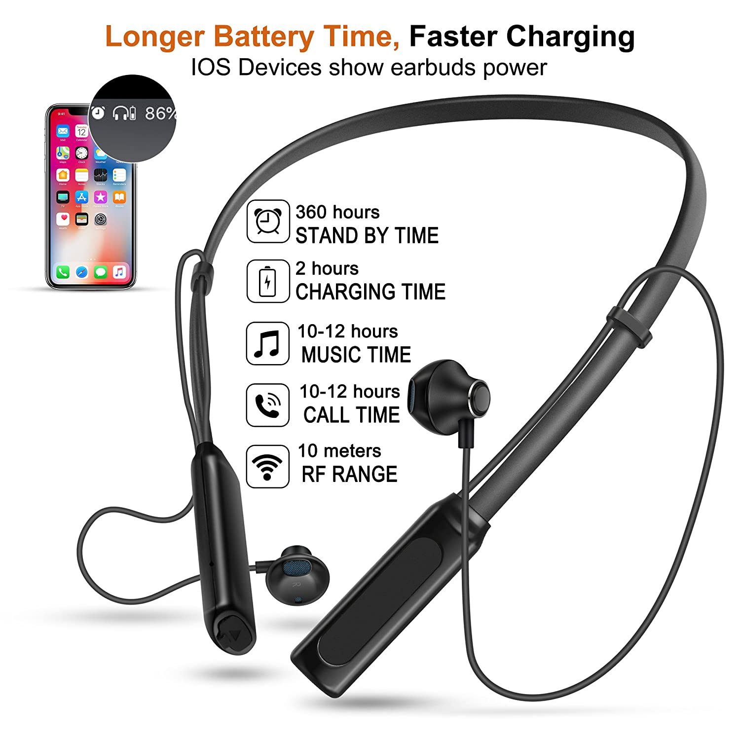 Wireless Bluetooth Headphones, Sxkaxlx V4.1 Bluetooth Headphones Neckband, Supre Stereo Noise Cancelling Earbuds,Sweatproof,Longlasting Playtimes Up To 12 Hours Black