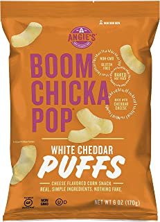 product image for Angie's BOOMCHICKAPOP White Cheddar Puffs Baked Corn Snacks, 6 oz. (Pack of 12)