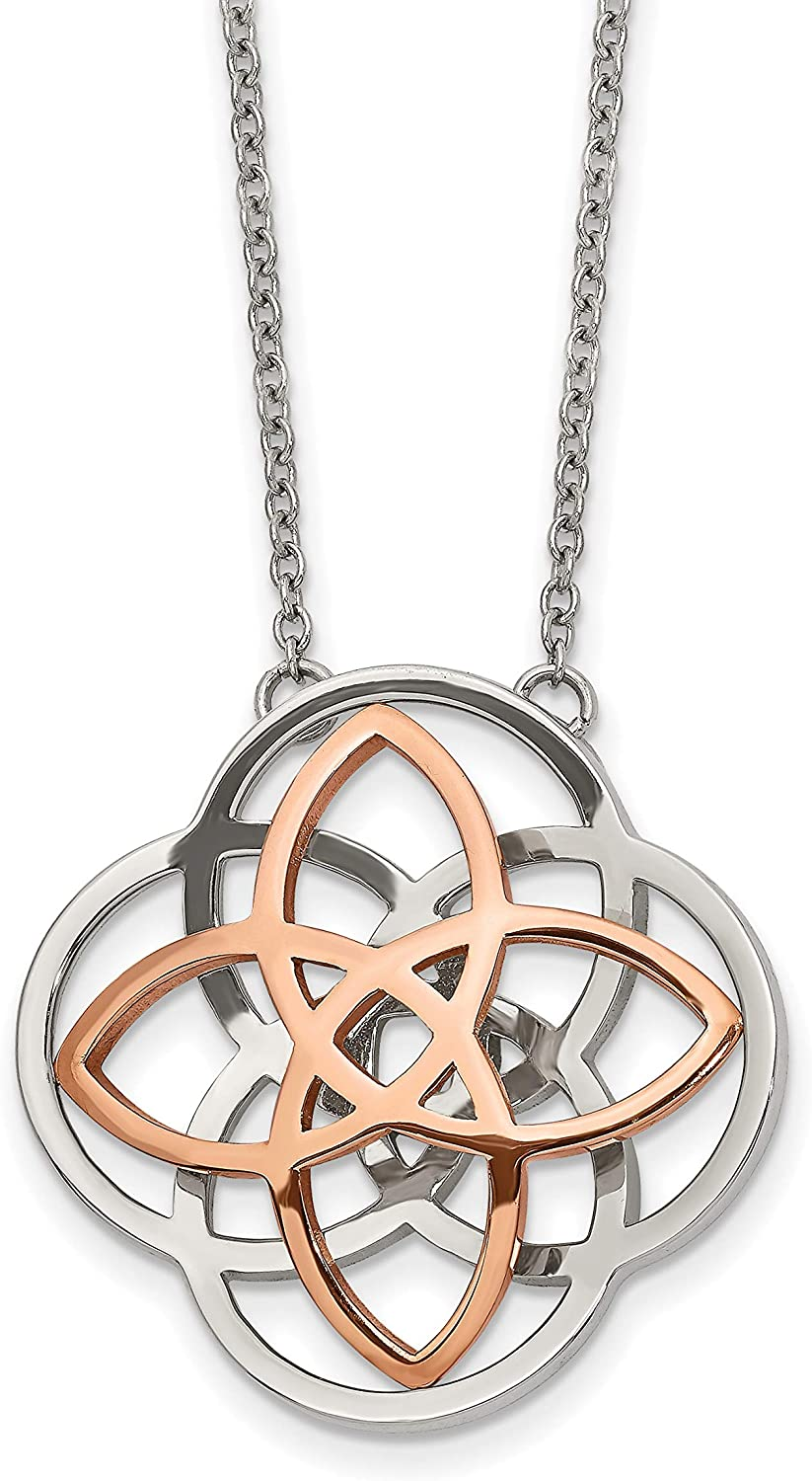 Stainless Steel Polished 3D Knot 16inw//2in ext Necklace