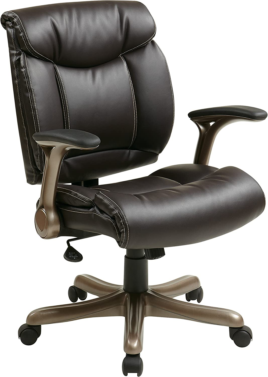 Office Star Bonded Leather Seat and Back with 2-Tone Stitching, Padded Flip Arms Executives Chair with Cocoa Finish Accents, Espresso