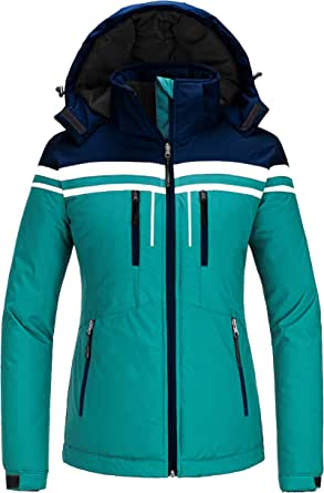 Skieer Women's Waterproof Ski Jacket Warm Winter Hooded Coat Windproof Snowboarding Jacket