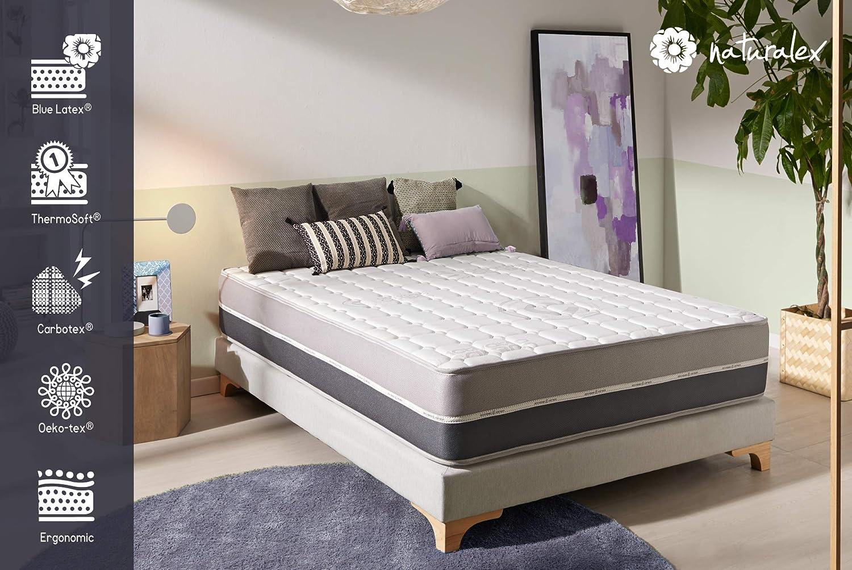 Naturalex CARBONTECH | Colchón de Espuma viscoelástica de edición Especial de 30 cm de Profundidad | diseño ergonómico de 7 Zonas | Tejido 3D de bambú ...