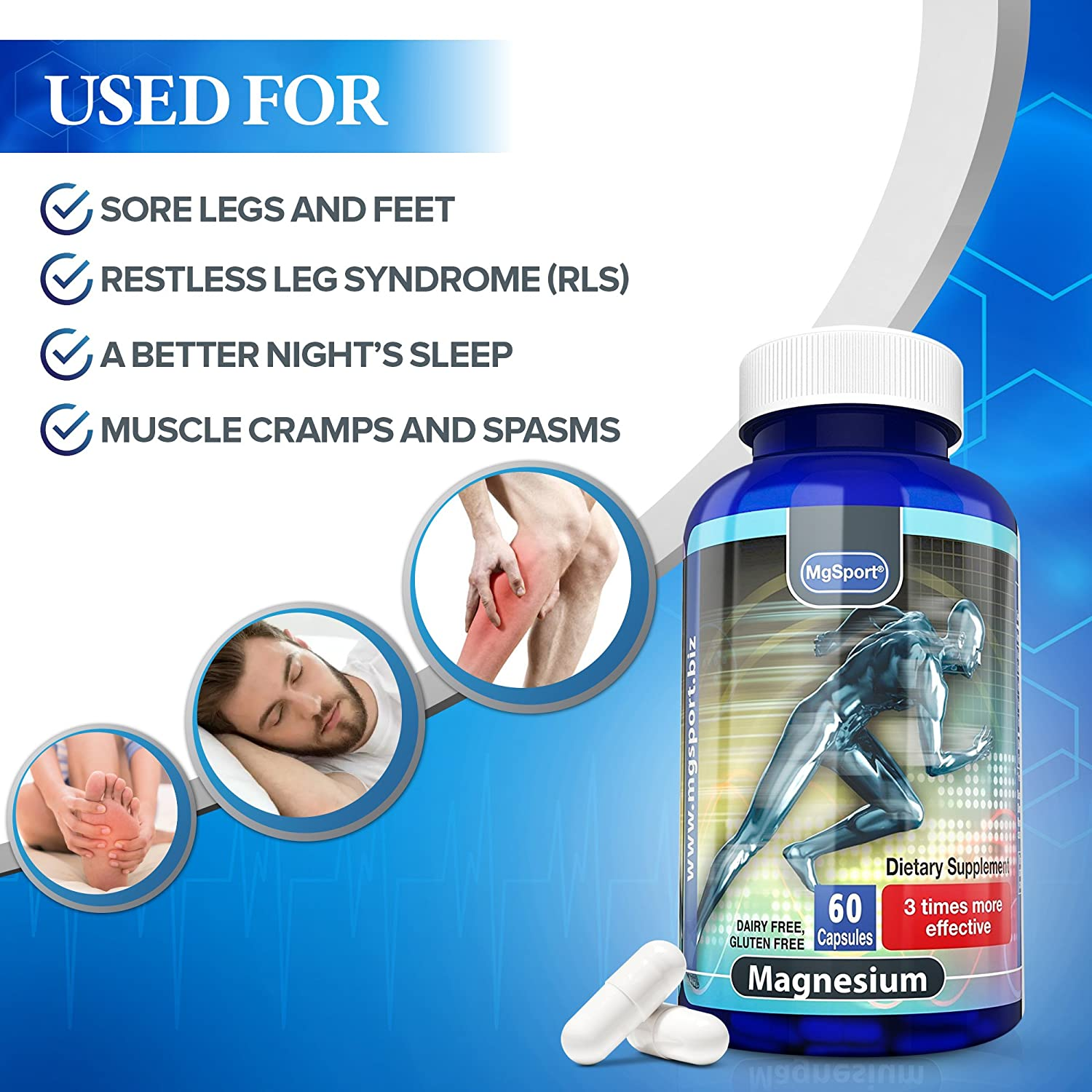 High Absorption Magnesium for Leg Cramps and Sore Muscles, Restless Leg  Syndrome Relief (RLS),