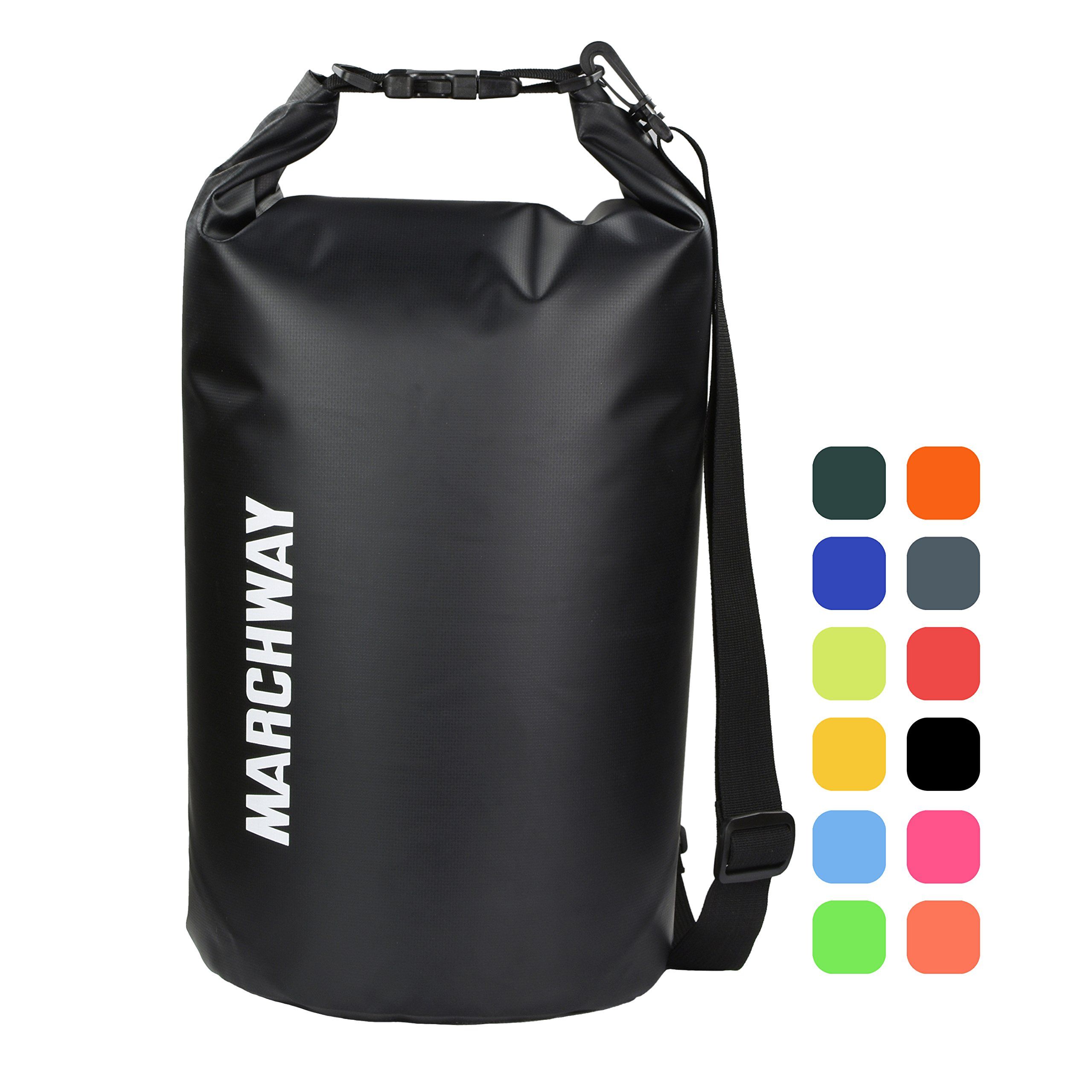 MARCHWAY Floating Waterproof Dry Bag Backpack 5L/10L/20L/30L/40L, Roll Top Dry Sack for Kayaking Rafting Boating Swimming Camping Hiking Beach Fishing Backpacking Mountaineering Paddling (Black, 10L) by MARCHWAY