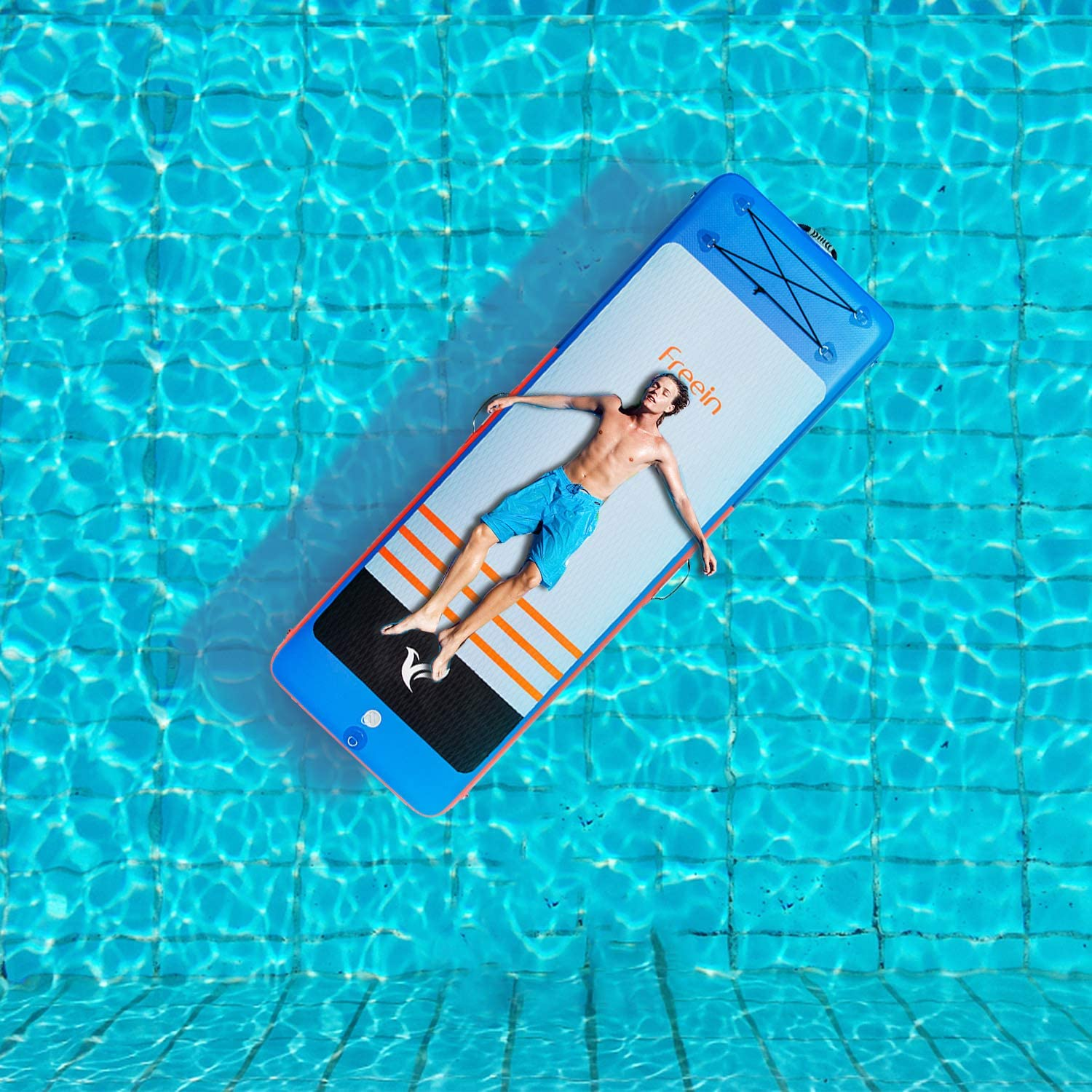a person lounging on an inflatable pool mat