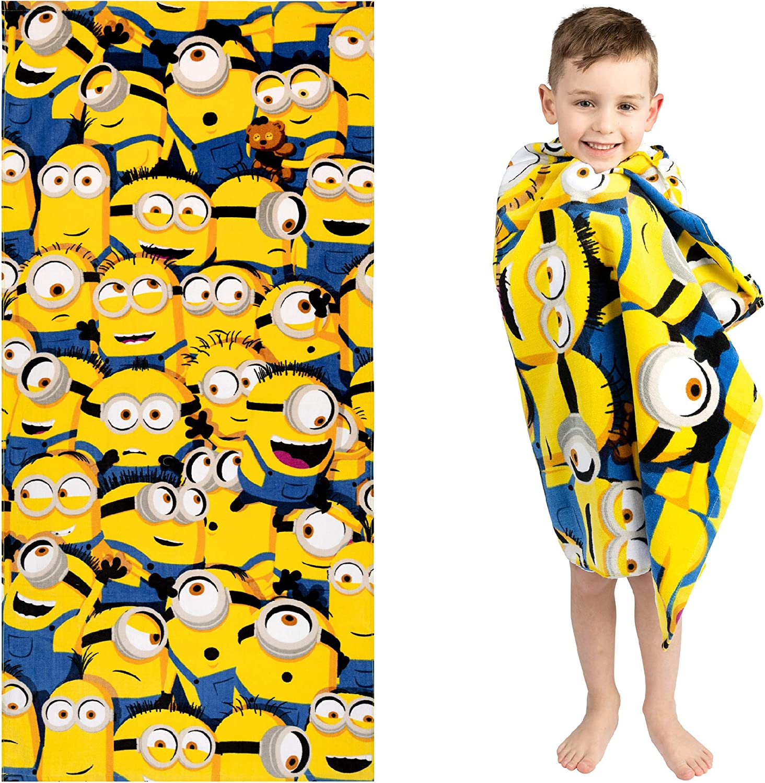 "Franco Kids Super Soft Cotton Beach Towel, 28"" x 58"", Minions The Rise of Gru"