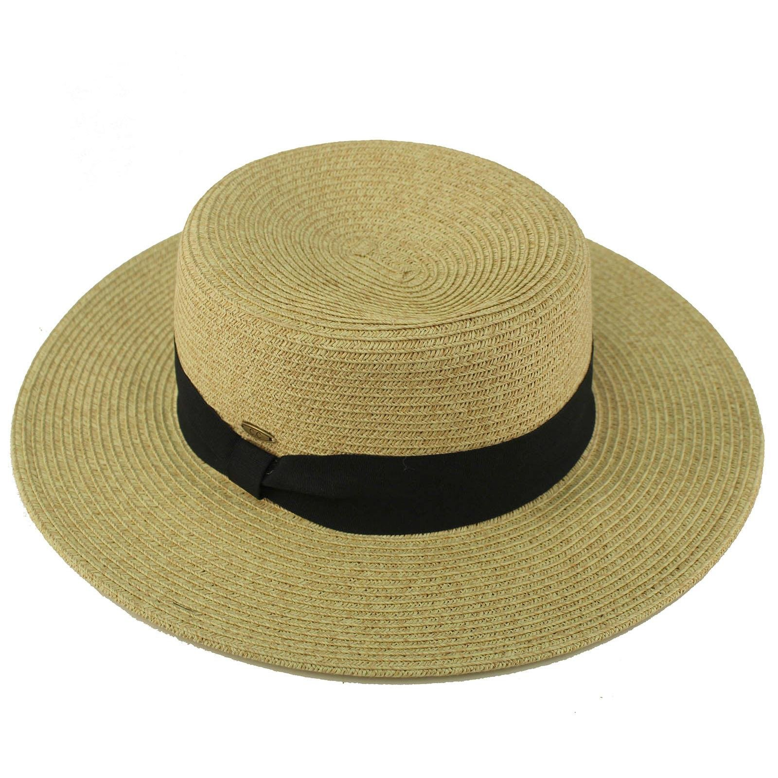 C.C Unisex Grosgrain Band Wide Porkpie Boater Derby Flat Top Fedora Sun Hat Lt. Natural/Black