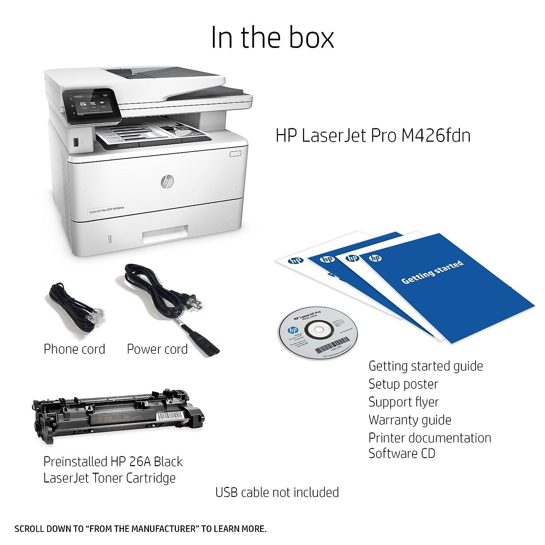 Amazon HP Laserjet Pro M426fdn Multifunction Laser Printer with Built in Ethernet & Duplex Printing Amazon Dash Replenishment Ready F6W14A