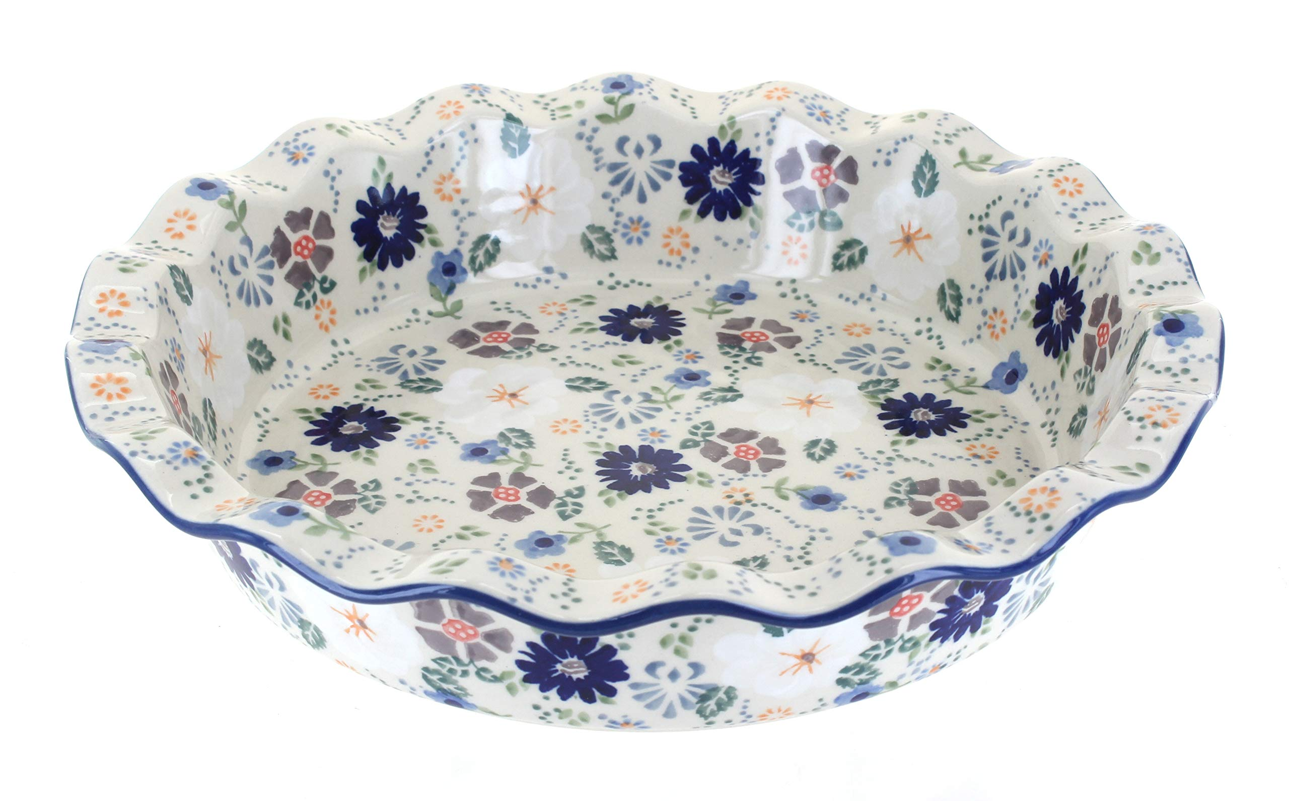 Blue Rose Polish Pottery Carnival Pie Plate