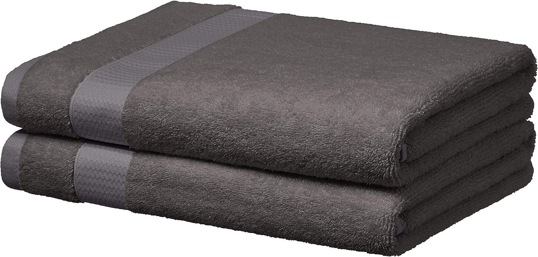 AmazonBasics Everyday Bath Towels, Set of 2, Fog Grey, 100% Soft Cotton, Durable