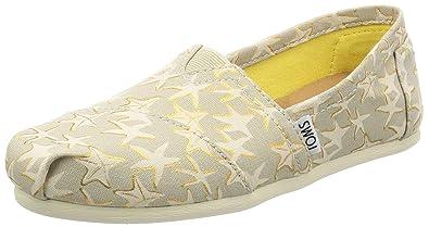 26e192ec353ed Amazon.com: TOMS Women's 10009729 Tan/Gold Starfish Alpargata Flat ...