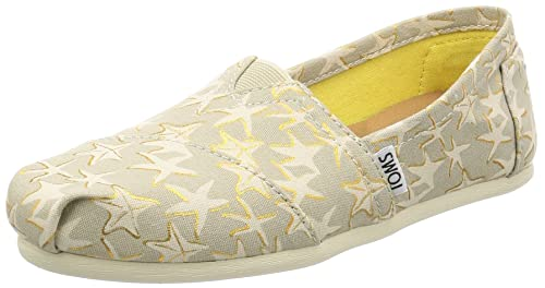 TOMS Womens 10009729 Tan/Gold Starfish Alpargata Flat, ...
