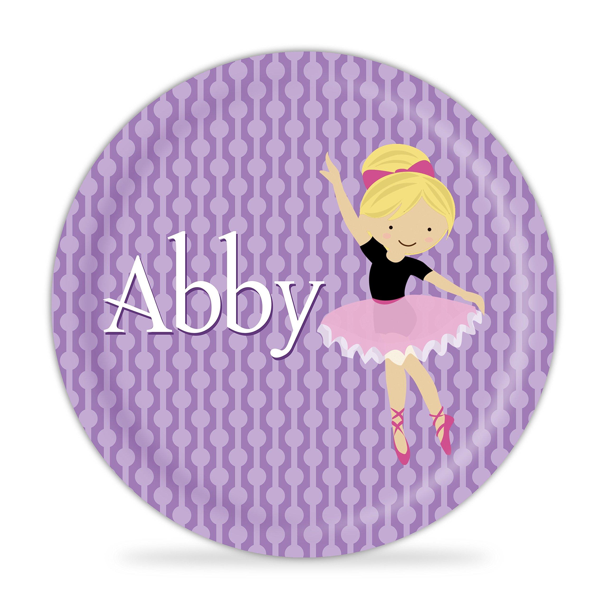 Ballerina Plate - Purple Dots Ballet Dancer Melamine Personalized Plate