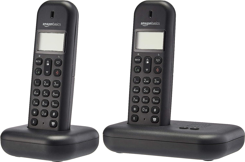 AmazonBasics - Teléfono fijo DECT con contestador automático, juego de 2, negro: Amazon.es: Electrónica