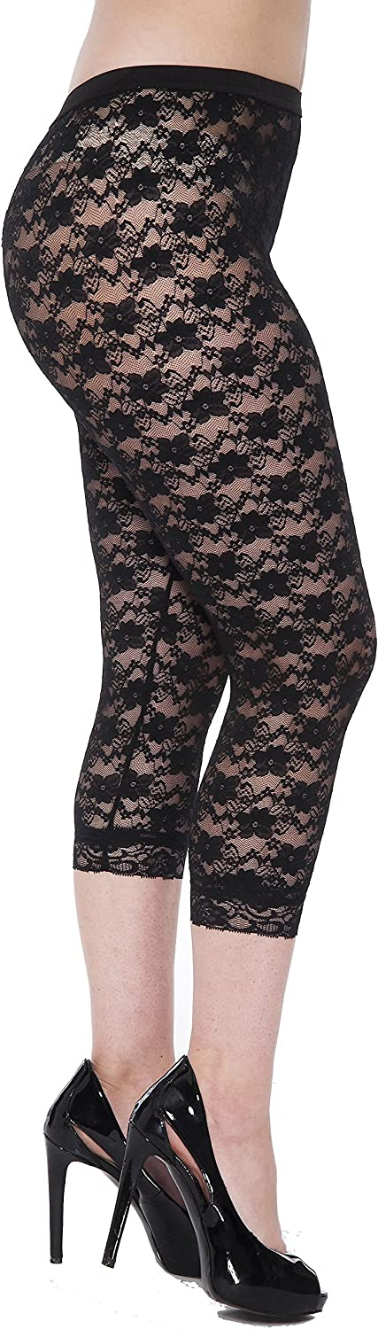 Vintage High Waisted Trousers, Sailor Pants, Jeans Women's Lace Leggings - 80s Costume Party Lace Tights - Black Floral Lace Capri $16.99 AT vintagedancer.com