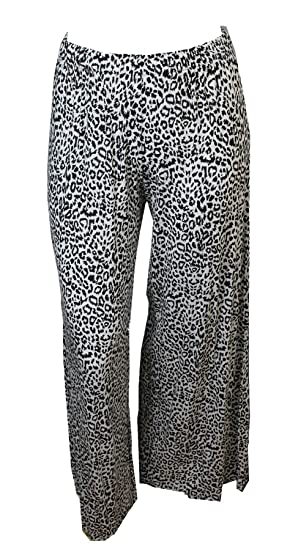 3cfd2a5421b WearAll Women s Plus size Animal Print Palazzo Ladies Wide Flared Pants -  Black - US 8