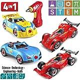 Construye tu propio coche carreras Prextex 4 en 1 con tornillos y taladro que funciona de verdad - Juguete de construcción de 53 piezas con luces y sonidos para niños y niñas