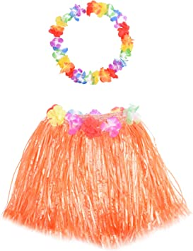 Wooly Bugged Falda de Hierba Hawaiana Naranja con Collar Flores ...