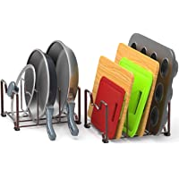 2 Pack - SimpleHouseware Kitchen Cabinet Pantry and Bakeware Organizer Rack Holder, Bronze