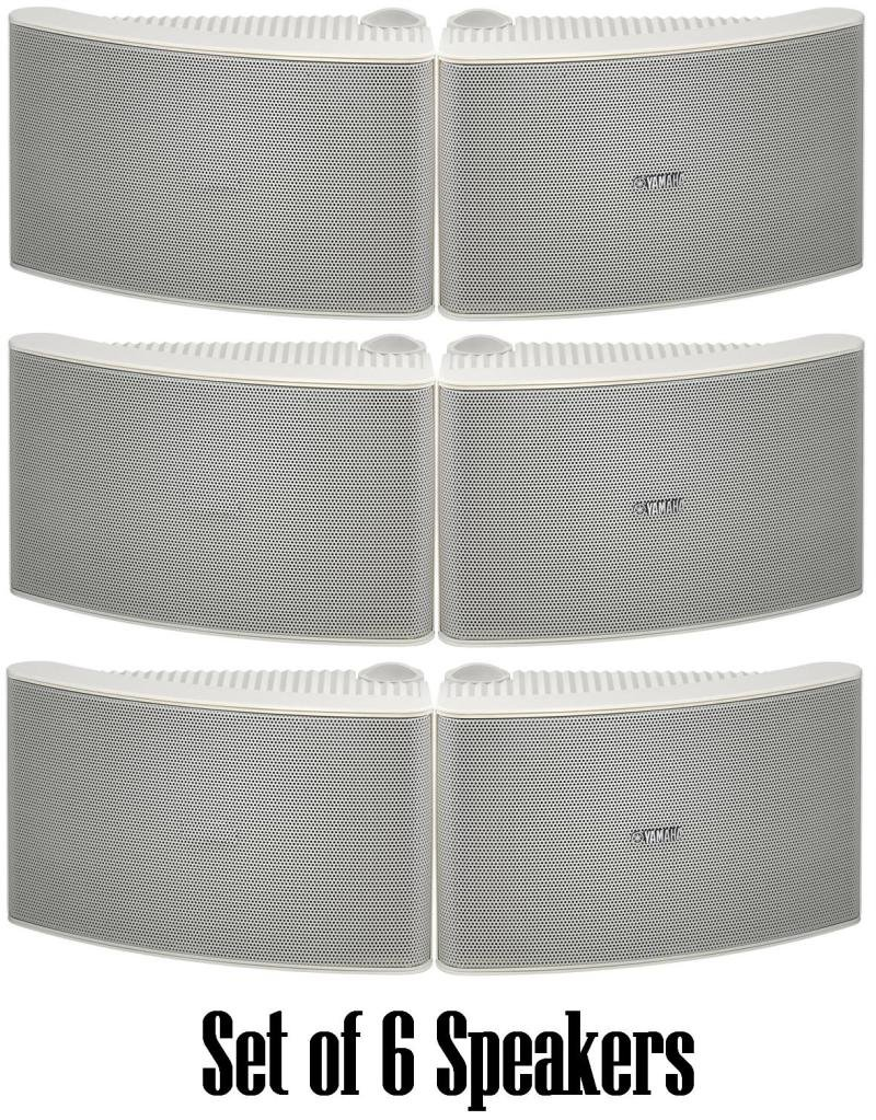 Yamaha All Weather Outdoor / Indoor Wall Mountable Natural Sound 150 watt 2 way Acoustic Suspension Speakers - Set of 6 - White - with 100ft 16 AWG Speaker Wire - Compatible with All Audio / Video Home Theater Sound Systems, Components, CD Players, or Rec by YAMAHA
