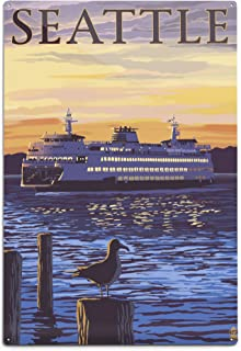 product image for Lantern Press Seattle, Washington, Ferry Sunset and Gull (12x18 Aluminum Wall Sign, Wall Decor Ready to Hang)