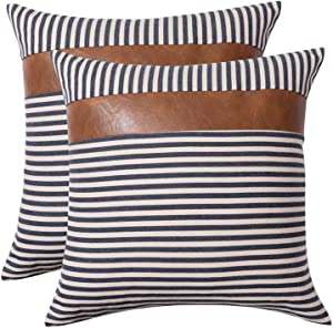 CARLOTA Farmhouse Modern Decoration Pillow Covers 20x20 Inches Set of 2 Boho Ticking Striped and Faux Leather Pillow Covers Accent Decor Cushion Covers for Couch Sofa, Navy Blue