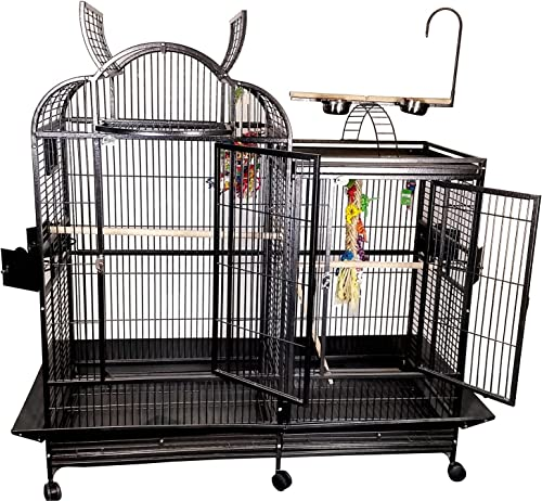 A E Cage PC-4226D Black Split Level House Bird Cage, 42 x 26