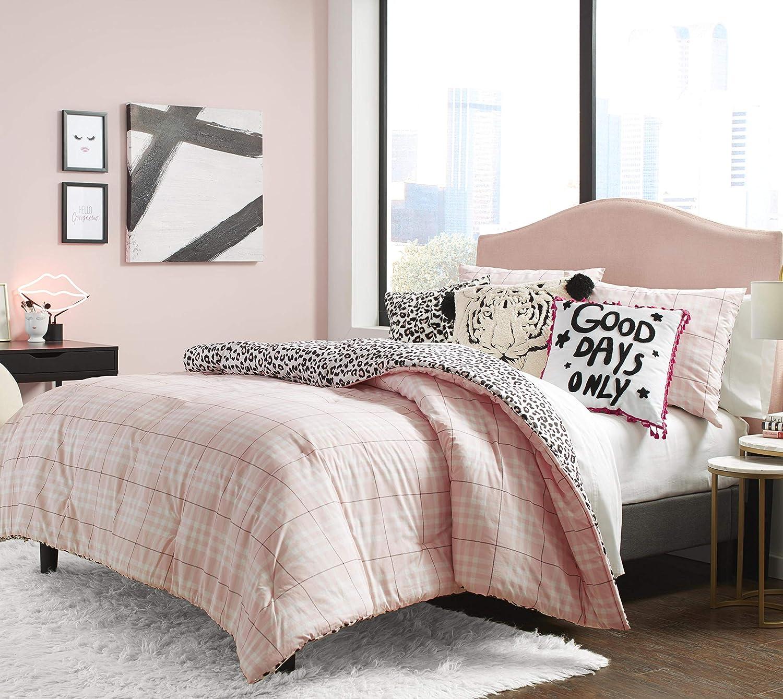 Betsey Johnson Betseys Plaid Comforter Set, Full/Queen, Pink