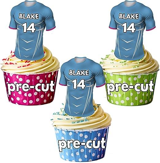 AK Giftshop PRECUTUT: camisas de rugby personalizadas con tu nombre de gallina y su número – adornos comestibles para cupcakes/decoraciones para tartas, colores de los toros (paquete de 12): Amazon.es: Hogar