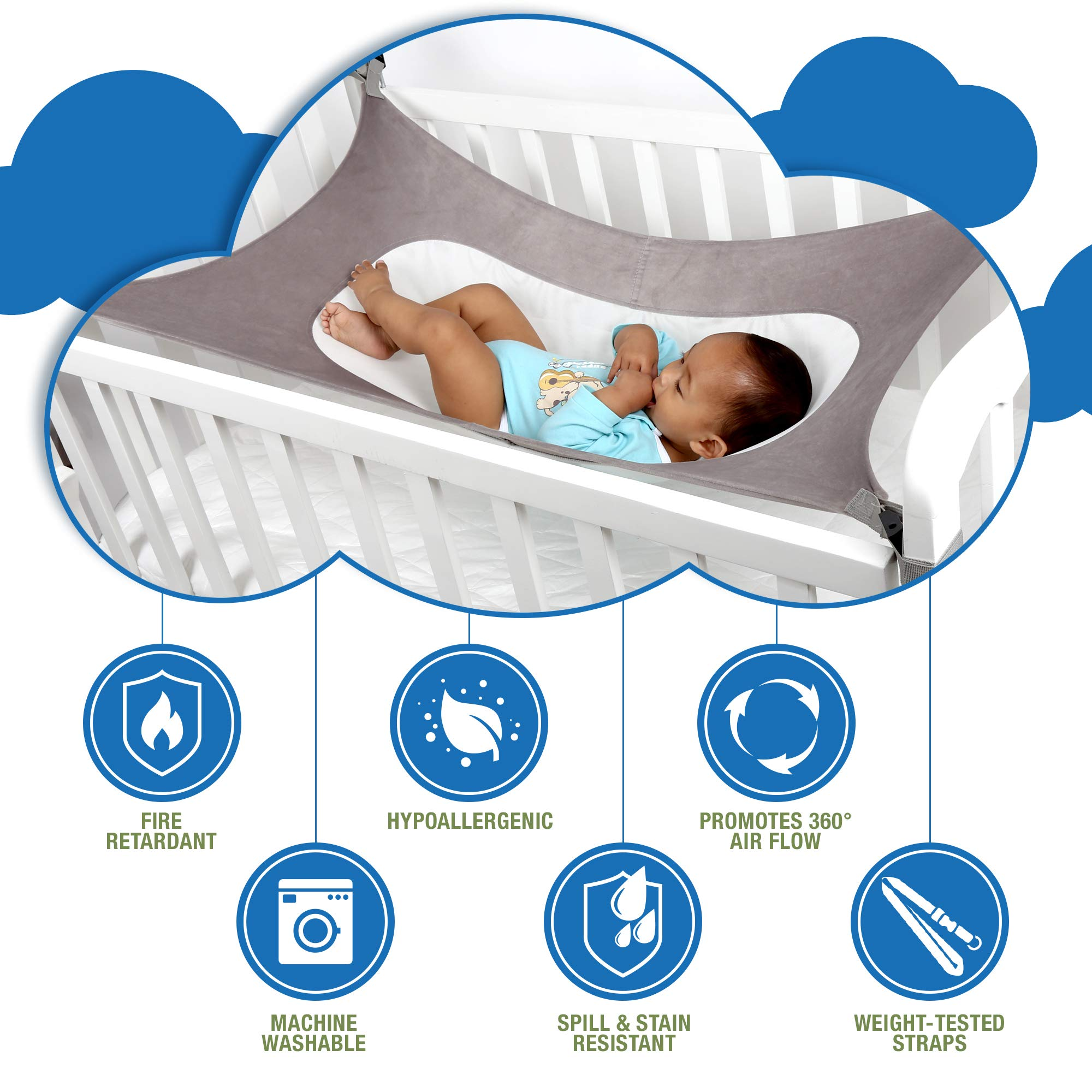 Baby Crib Hammock by Easy Gorilla - Newborn Bed Sleeping Essentials for Boys and Girls - Breathable and Portable - Infant Sleep Comfort Gifts for Indoor Cot - Cradle - Safety Mesh Nursery Nap Hammocks by EasyGorilla (Image #6)