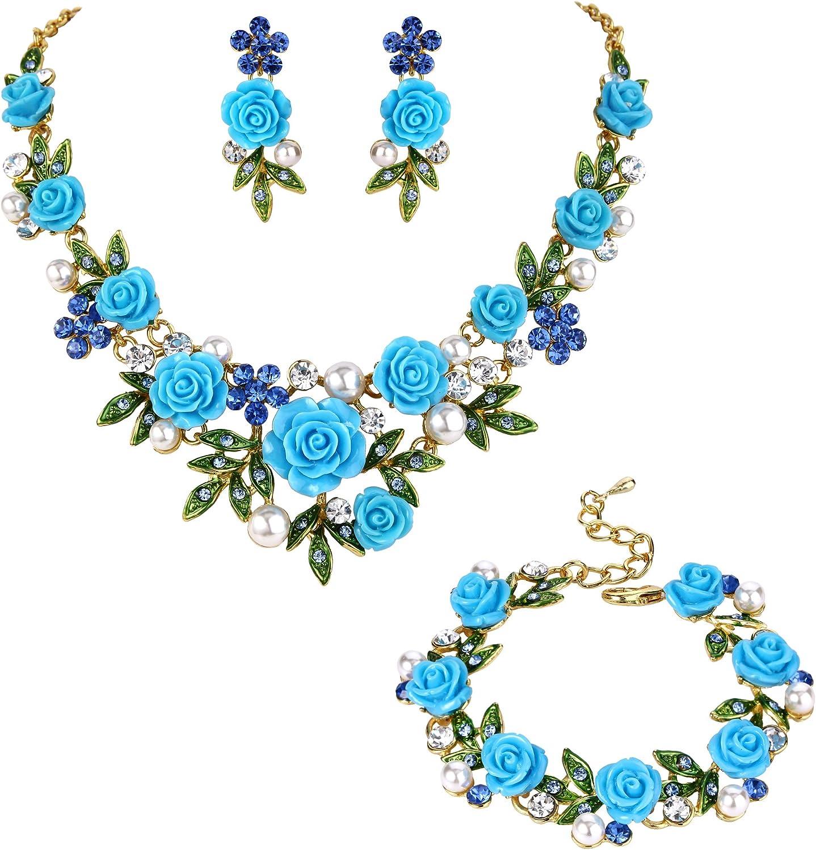EVER FAITH Juegos de Joyas para Mujer Cristal Perla SImulada Rosa Flor Hoja Collares Pendientes Pulsera Conjunto