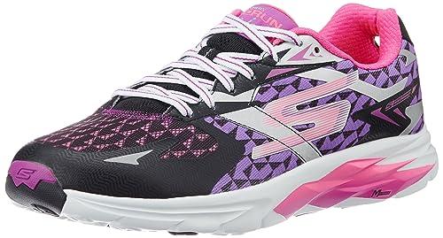 327da00f3563 Skechers Women s Go Run Ride 5 Black and Purple Track and Field Shoes - 3 UK