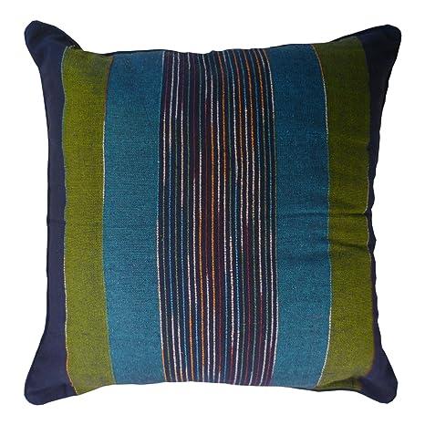 Comercio justo fundas de cojín a rayas indias tejidas a mano 60 x 60 cm (disponibles en 4 colores: rojo, verde, natural, turquesa), algodón, Turquesa, ...