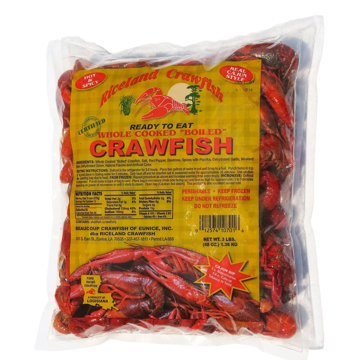 Whole Boiled Louisiana Crawfish (9 lbs.)