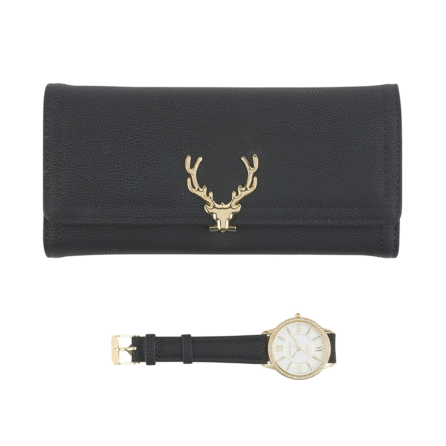 Women s Gold Watch with Crystal Bling on The Bezel Matching Reindeer Clasp Clutch Wallet Gift Set