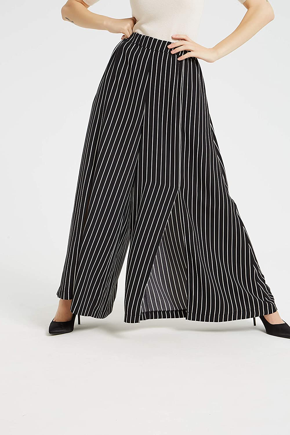 Tronjori Women's High Waist Elastic Casual Wide Leg Palazzo Pants Trousers with Front Slit Stripe Black