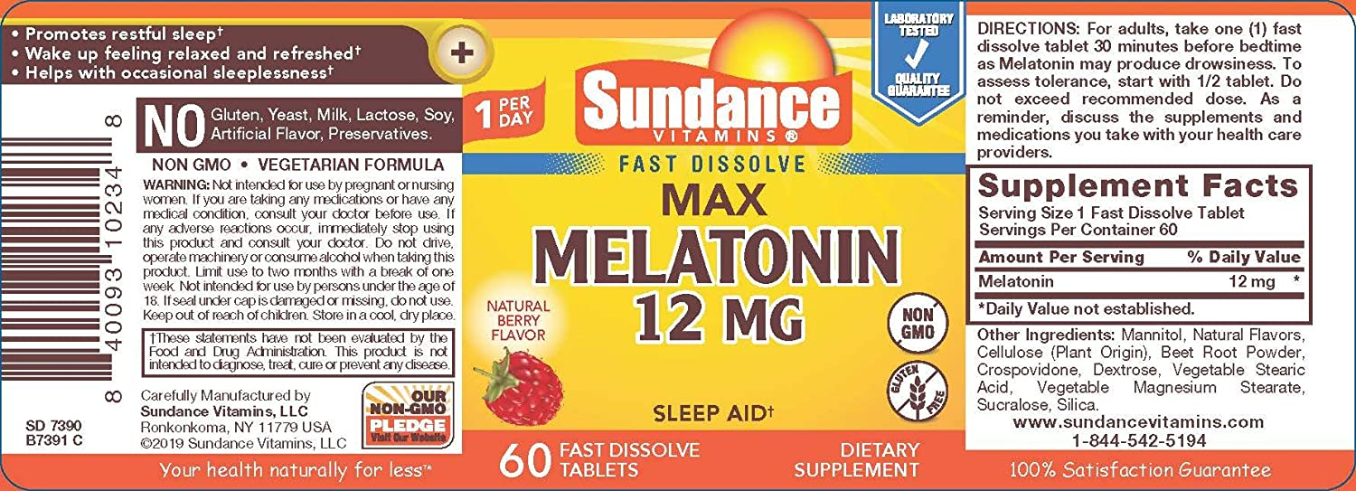 Amazon.com: Sundance 12 mg Melatonina tabletas, 60 Count ...