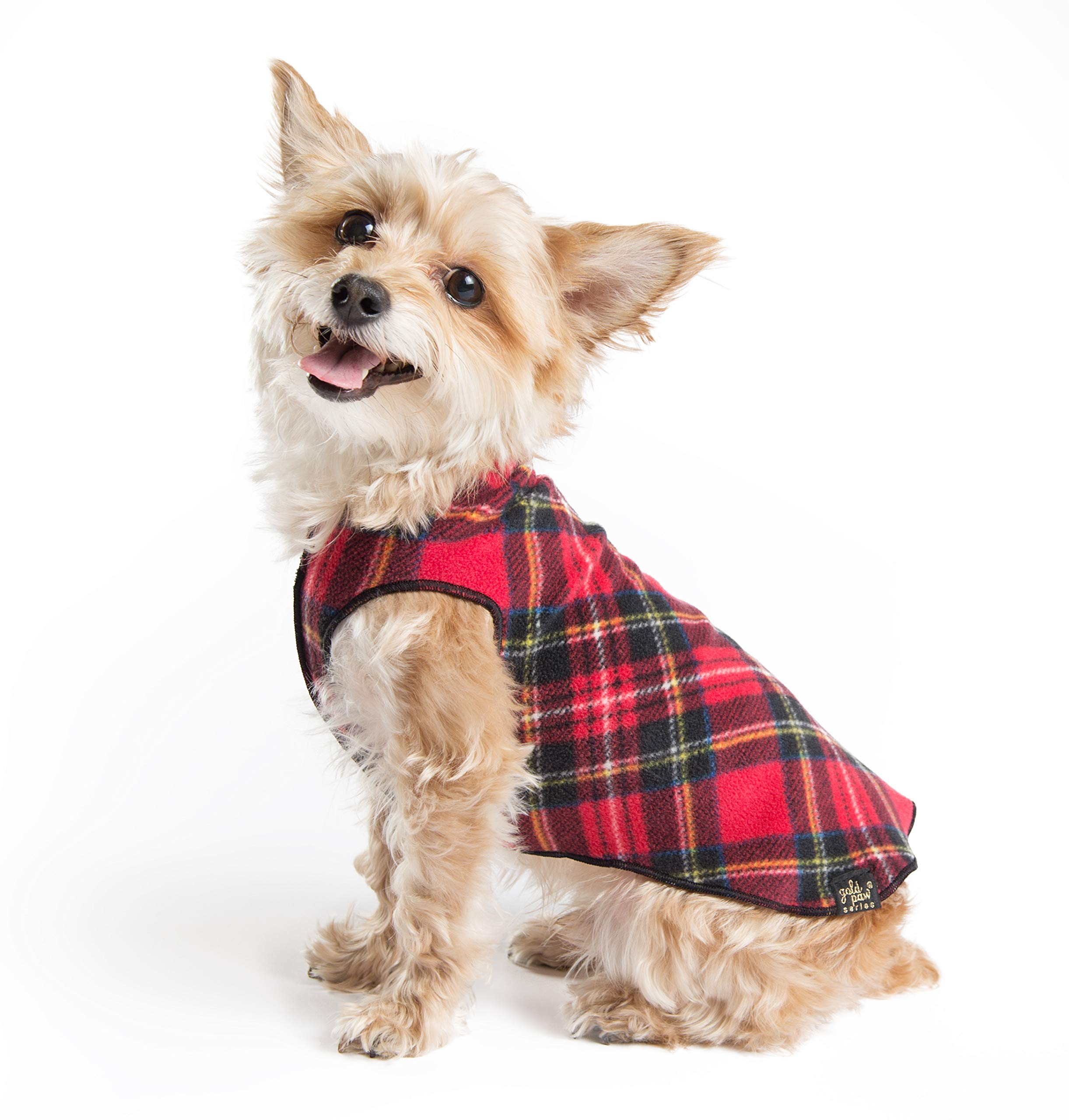 Gold Paw Stretch Fleece Dog Coat - Soft, Warm Dog Clothes, Stretchy Pet Sweater - Machine Washable, Eco Friendly - All Season, Red Classic Plaid, Size 30 by Gold Paw