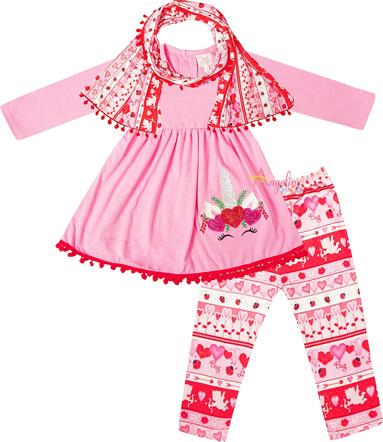 Baby Toddler Little Girls Valentines Day Applique Top Leggings Scarf Outfit 3-pc Set