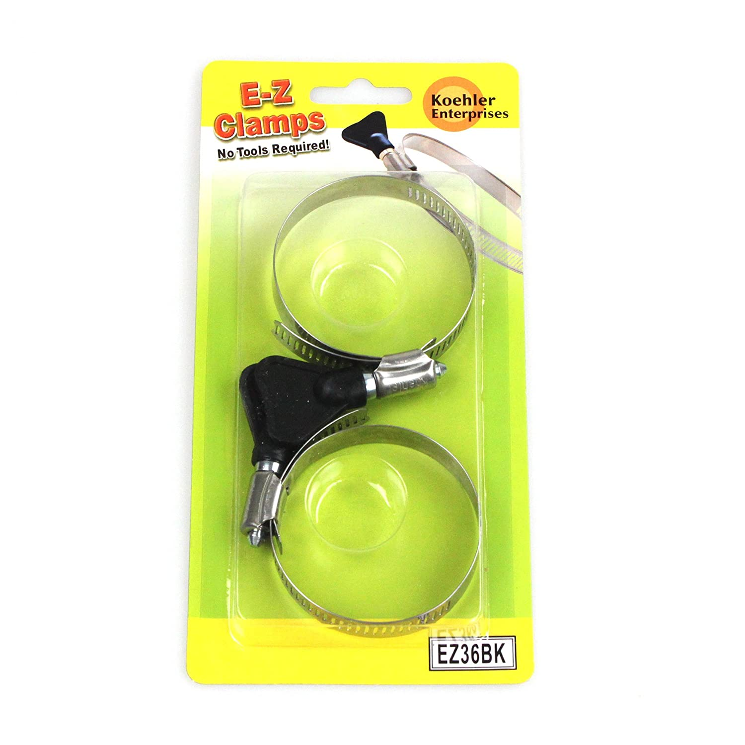 2 Pieces Each SAE Size 4, 6 and 20. No Tools Required Koehler Enterprises EZ01B EZ Clamp Blister Pack,