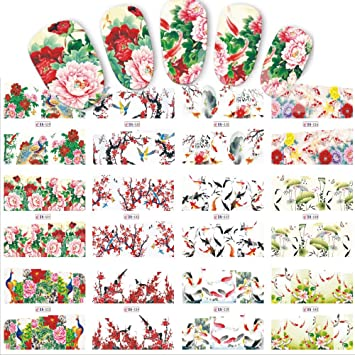 poying 12 designssets nail sticker chinese new year theme pattern watermark tips nails decals