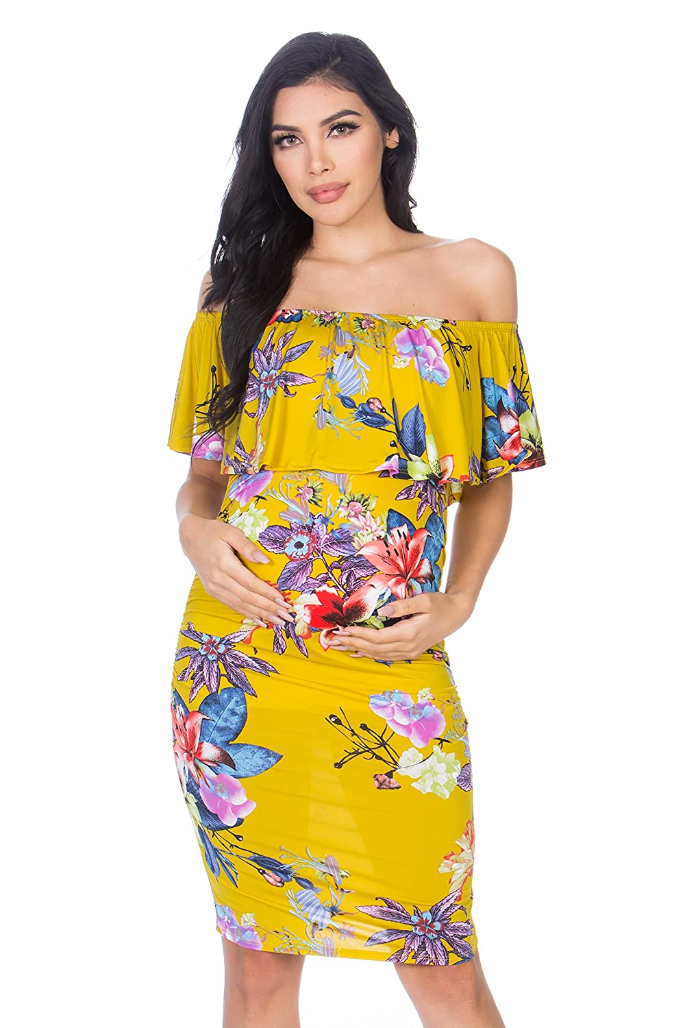 My Bump DRESS レディース B07FKJGW6L Large|Yellow/Red Flower Yellow/Red Flower Large